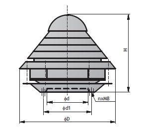 Крышные вентиляторы WD. Технические данные.