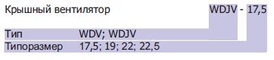 Крышные вентиляторы WDJ/WDJV. Обозначение